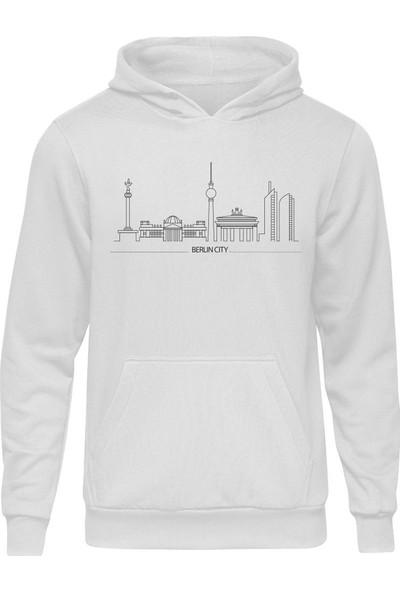 Fandomya Legend City Berlin Beyaz Kapşonlu Hoodie
