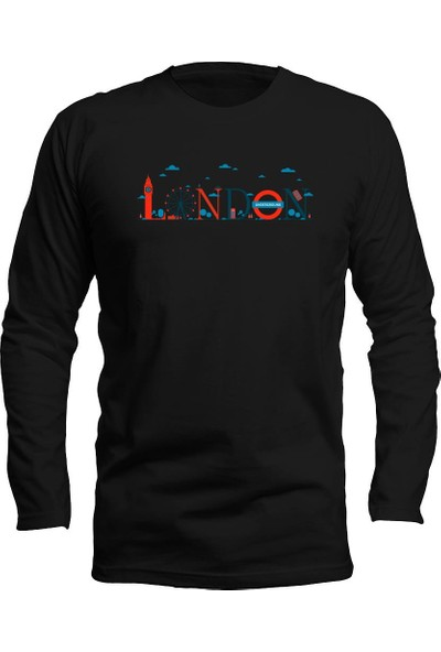 Fandomya Legend City London Siyah Long Sleeve