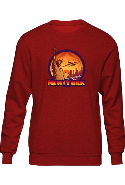 Fandomya Legend City Newyork Kırmızı Sweatshirt