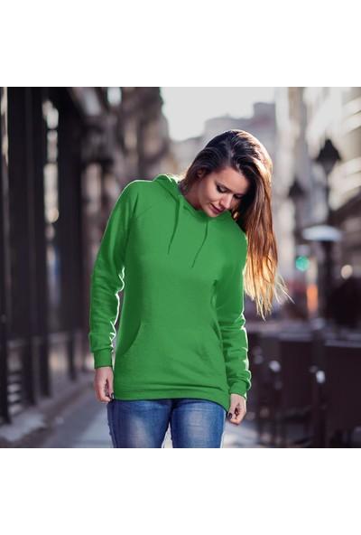 Fandomya Minimalist Balance Yeşil Kapşonlu Hoodie