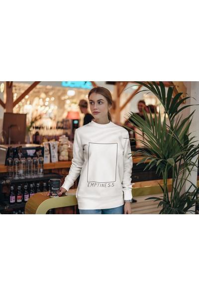 Fandomya Minimalist Emptiness Beyaz Sweatshirt