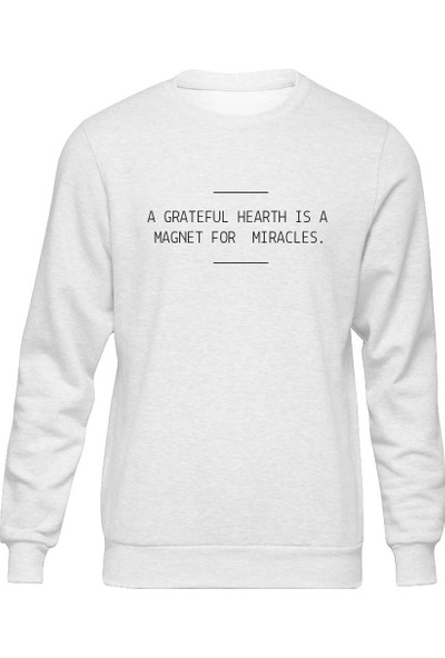 Fandomya Minimalist Grateful Beyaz Sweatshirt