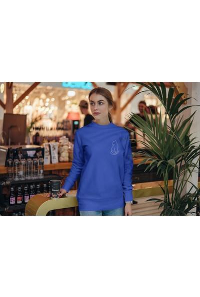 Fandomya Minimalist Cat Mavi Sweatshirt