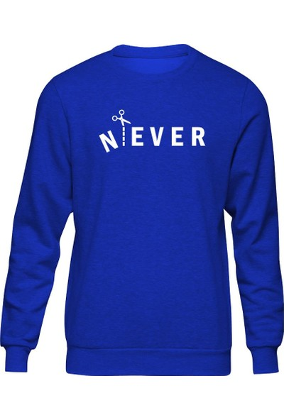 Fandomya Minimalist Never Mavi Sweatshirt