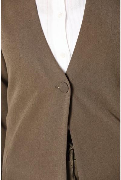 Allday Düğmeli Uzun Ceket