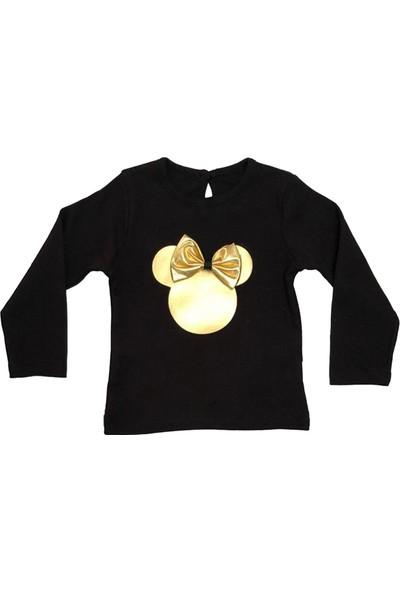 Papido Mickey Baskılı Fiyonklu Etekli 3'lü Kız Çocuk Takım-Gold