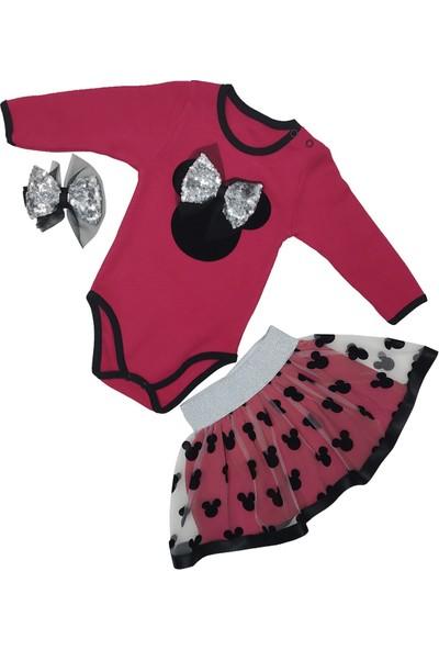 Papido Mickey Baskılı Fiyonklu Etekli 2'li Kız Bebek Takım-Fuşya