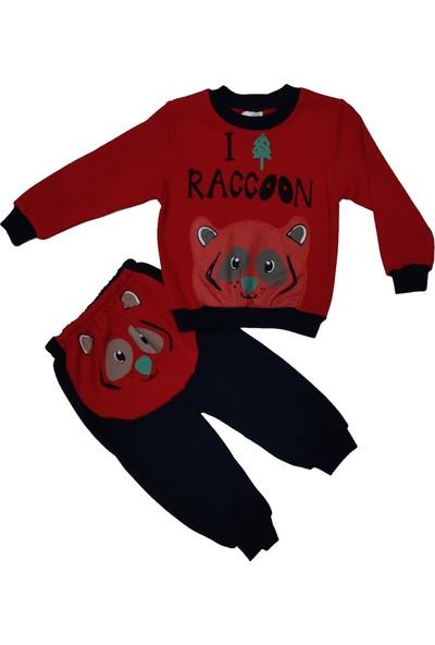 Papido Racoon Baskılı 2'li Erkek Çocuk Takım-Kırmızı
