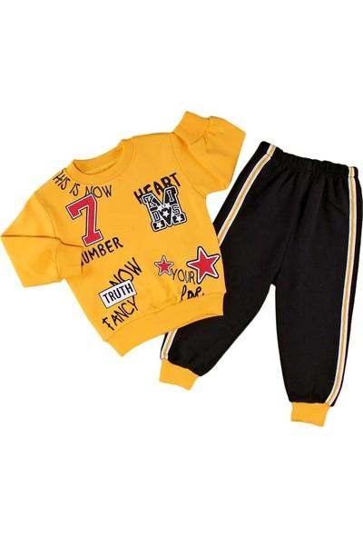 Papido 7 Number Baskılı 2'li Erkek Bebek Takım-Sarı