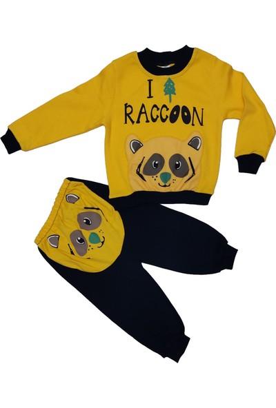 Papido Racoon Baskılı 2'li Erkek Çocuk Takım-Sarı