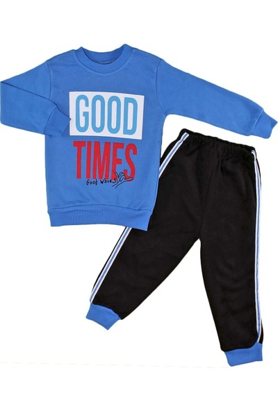 Papido Good Times Baskılı 2'li Erkek Bebek Takım-Mavi