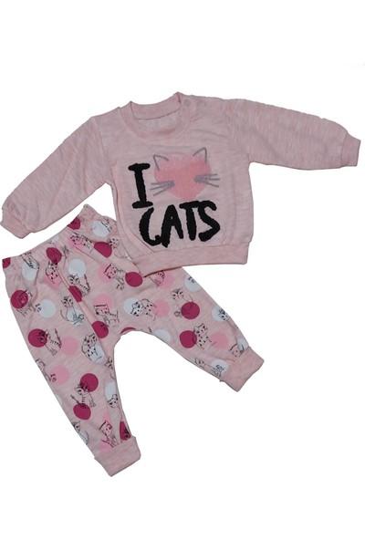 Papido I Love Cats Nakışlı 2'li Kız Bebek Takım-Pembe