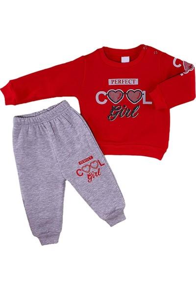Papido Cool Girl Baskılı 2'li Kız Bebek Takım Kışlık-Kırmızı