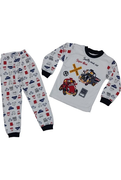 Papido Araba Baskılı 2'li Erkek Çocuk Pijama Takımı