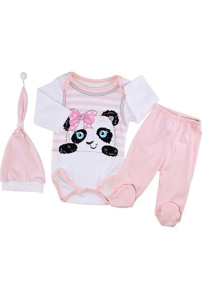 Papido Panda Baskılı Patikli 3'lü Kız Bebek Takım-Somon
