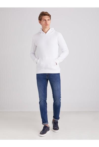 Dufy Beyaz Düz Kapüşonlu Erkek Sweatshirt - Regular Fit