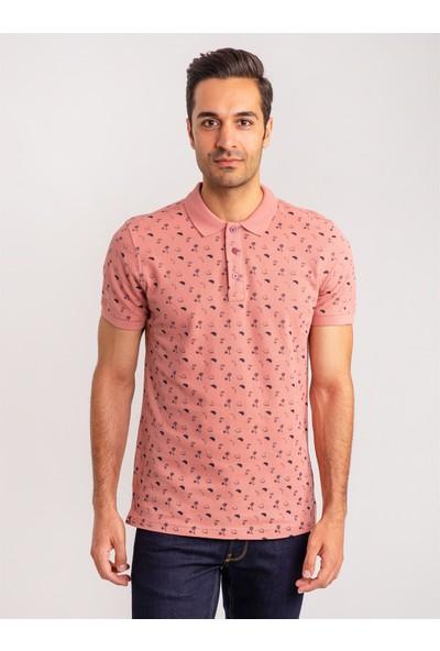 Dufy Gülkurusu Baskılı Polo Yaka Yün Erkek T-Shirt - Slım Fit