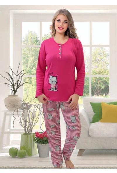 Alp Collection Kadın Uzun Kollu Pamuklu Fuşya Kadın Alt Üst Pijama Takımı