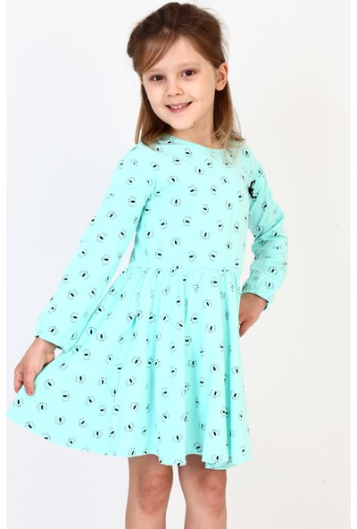 Toontoy Kız Çocuk Komple Kelebek Desenli Elbise