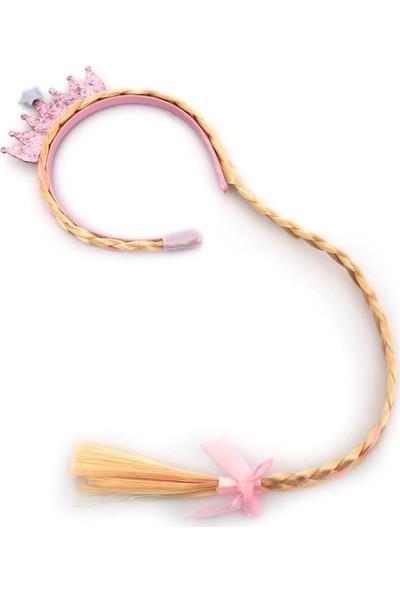 Masho Trend Pembe Prenses Tacı - Prenses Saçı - Saçlı Taç - Sarı Saçlı Taç