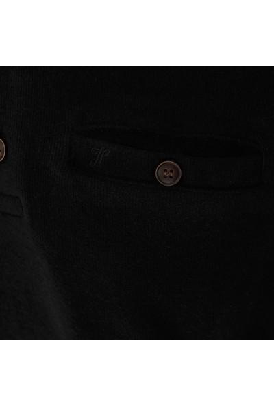 Hateko Erkek Siyah Selanik Örme Polo Yaka Sweatshirt