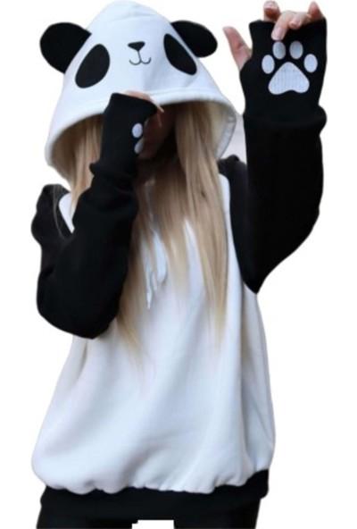 Özelifnur Panda Suratlı Siyah Beyaz Sweatshirt