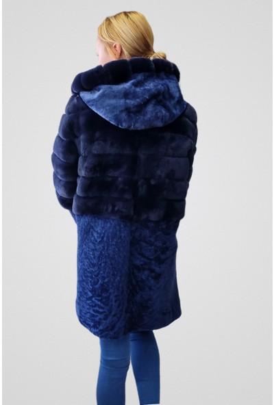 Tannery Leather Kadın Hakiki Deri Palto Mavi