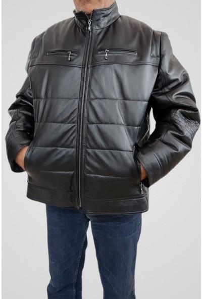 Tannery Leather Erkek Şişme Hakiki Deri Mont Siyah