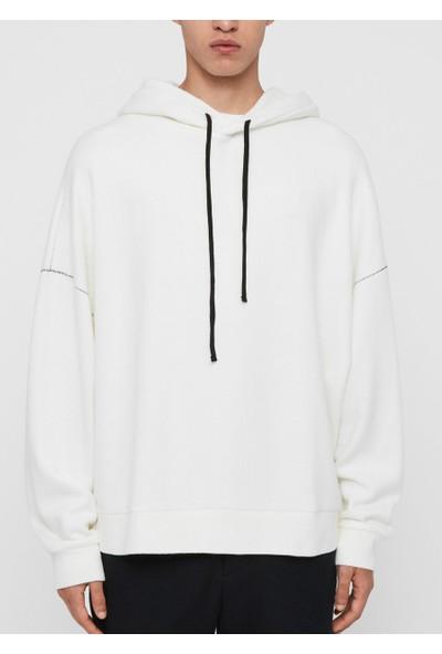 All Saints Erkek Kapüşonlu Sweatshirt MF072R U004563 - Krem