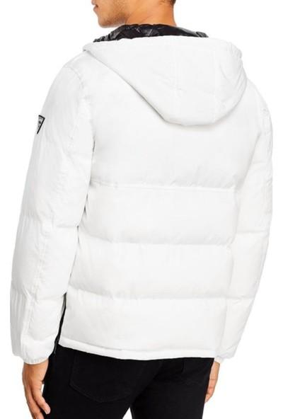 Guess Erkek Kapüşonlu Mont 119AP484 U005027 - Beyaz