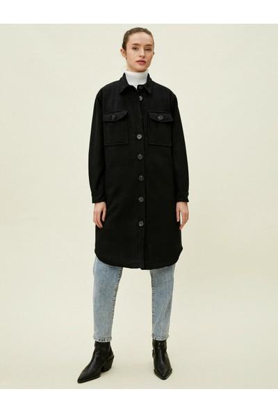 Koton Gömlek Yaka Uzun Kaşe Ceket