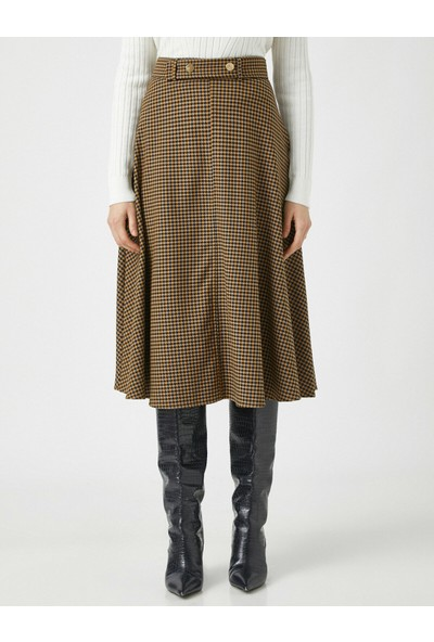 Koton Belted Checked Skirt