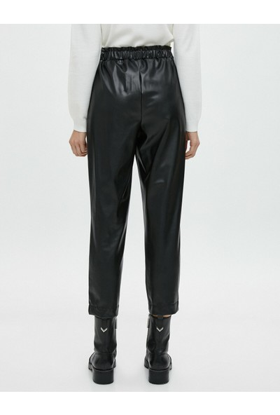 Koton Yüksek Bel Suni Deri Pantolon