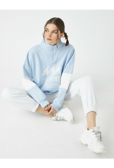 Koton Respect Life - Yaşama Saygı - Dik Yaka Renk Bloklu Baskılı Sweatshirt
