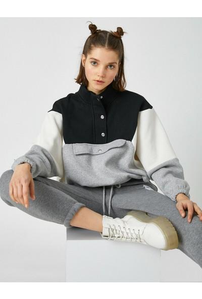 Koton Renk Bloklu Cep Detaylı Sweatshirt