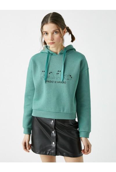 Koton Pamuklu Kapüşonlu Baskılı Sweatshirt