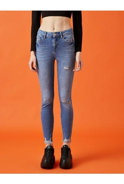 Koton Pamuklu Skinny Carmen Jean - Yüksek Bel Dar Kesim Dar Paça Pantolon