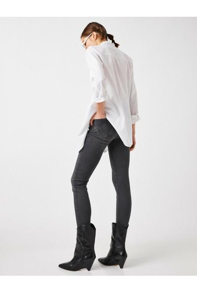 Koton Pamuklu Yüksek Bel Kate Jean - Dar Kesim Dar Paça Pantolon