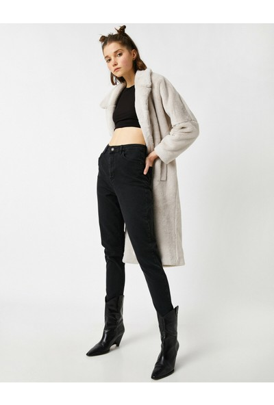 Koton Pamuklu Mom Slim Jean - Yüksek Bel Hafif Dar Kesim Dar Paça Pantolon