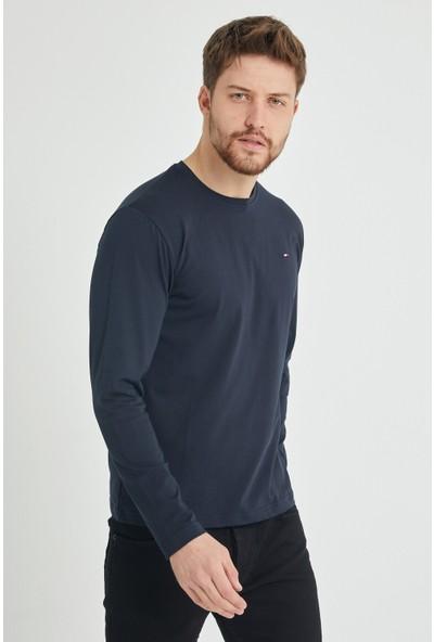 Comeor Erkek Lacivert Bisiklet Yaka Düz Basic Ince Sweatshirt