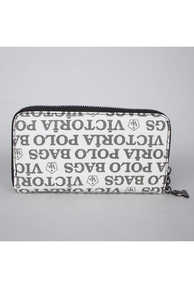 Victoria Polo 1005 Suni Deri Kadın Cüzdanı Beyaz