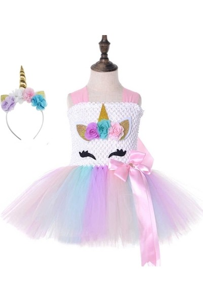 Unicorn Doğum Günü Elbise,doğum Günü Tütü Elbise ve Unicorn Taç