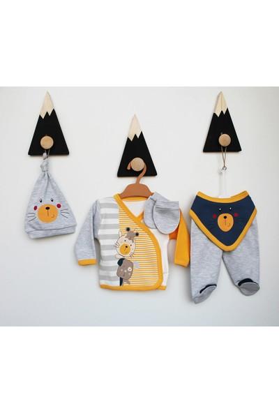 Puppis Baby Sevimli Ayı Baskılı 5'li Zıbın Set