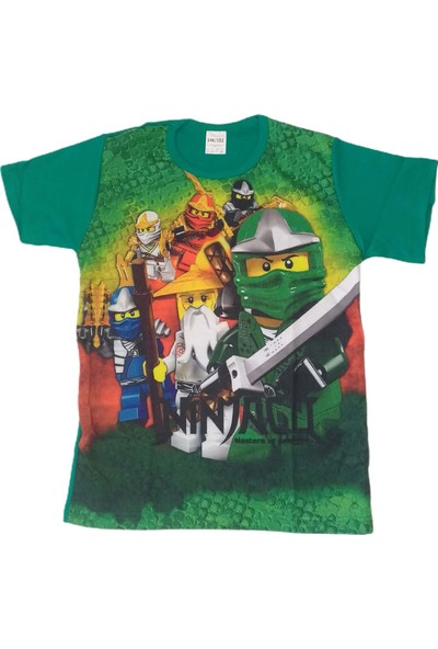 Ninjago Dijital Baskılı Yeşil Penye Erkek Çocuk T-Shirtü 104- 2-3 Yaş