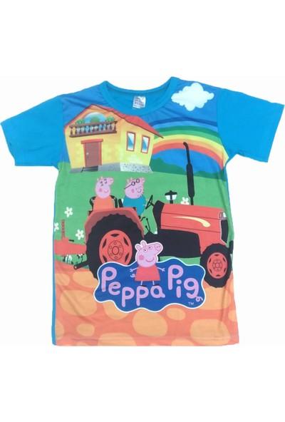 Peppa Pig Mavi Traktörlü Erkek Çocuk Tişörtü
