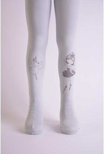 Artı Çorap 2'li Termal Balerin Kız Baskılı Kız Çocuk Külotlu Çorabı Gri-Pembe