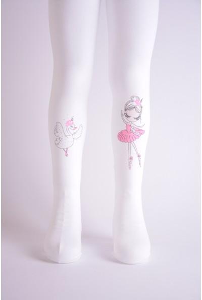 Artı Çorap 2'li Termal Balerin Kız Baskılı Kız Çocuk Külotlu Çorabı Beyaz-Gri