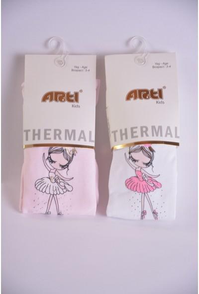 Artı Çorap 2'li Termal Balerin Kız Baskılı Kız Çocuk Külotlu Çorabı Pembe-Beyaz