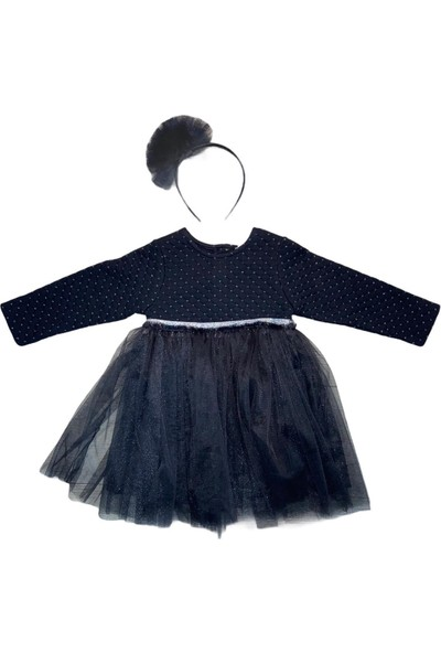 Mamino Elbise Uzun Kol Siyah Kız Çocuk