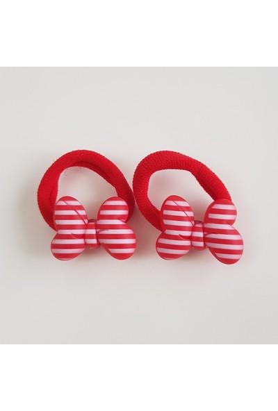 Mimol Bebek Kırmızı Fiyonklu Lastikli Çocuk Tokası